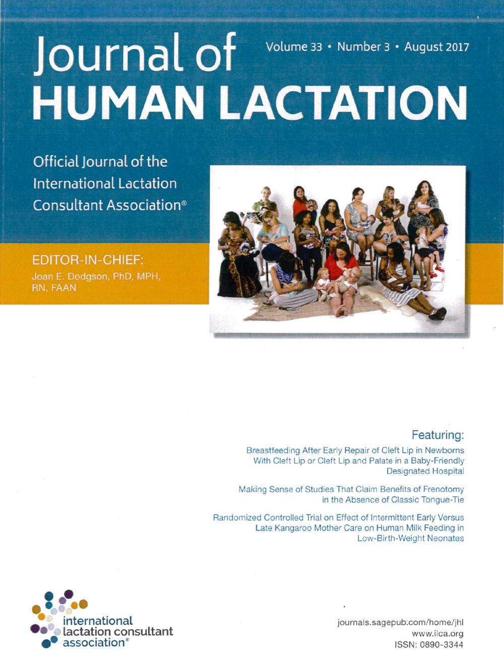 cover of august 2017 journal of human lactation